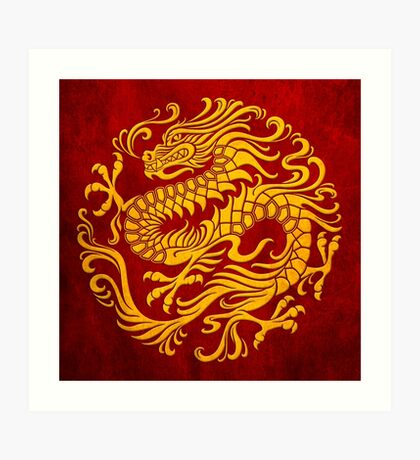Traditional Yellow and Red Chinese Dragon Circle Art Print