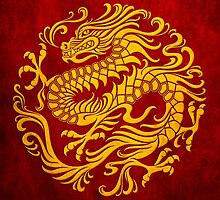Traditional Yellow and Red Chinese Dragon Circle by Jeff Bartels