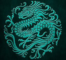 Traditional Teal Blue Chinese Dragon Circle by Jeff Bartels
