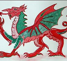 Welsh Dragon Green & Red by peachiesart