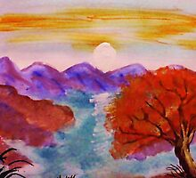 Sunset over the mountains, watercolor by Anna  Lewis, blind artist