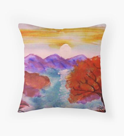 Sunset over the mountains, watercolor Throw Pillow