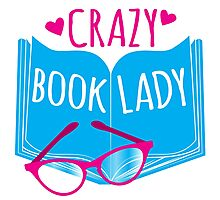 Crazy Book Lady with a pair of glasses and a book in blue Photographic Print