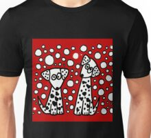 Funny Spotted Dogs with Heart Spots Unisex T-Shirt