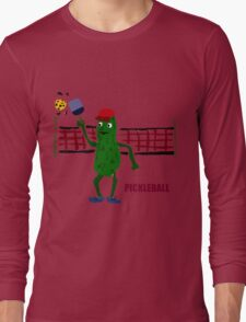 Funny Pickleball Pickle and Net Long Sleeve T-Shirt
