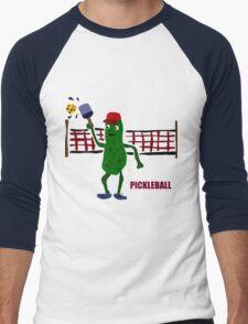 Funny Pickleball Pickle and Net Men's Baseball ¾ T-Shirt