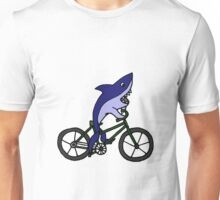 Funny Blue Shark Riding Bicycle Unisex T-Shirt