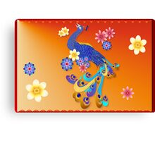 Fancy Peacock and Flowers Canvas Print