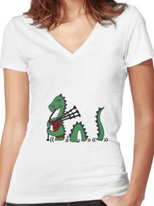 Funny Loch Ness Monster Playing Bagpipes Women's Fitted V-Neck T-Shirt