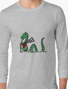 Funny Loch Ness Monster Playing Bagpipes Long Sleeve T-Shirt