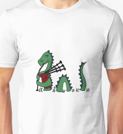 Funny Loch Ness Monster Playing Bagpipes Unisex T-Shirt