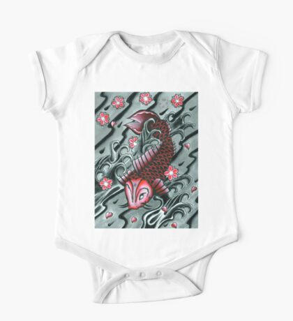Red Koi Fish One Piece - Short Sleeve
