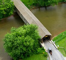 Hunsecker's Mill Covered Bridge - Horse and Buggies by Mark Van Scyoc