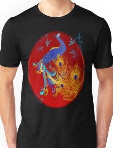 Three Feathers and a Peacock Oval Unisex T-Shirt