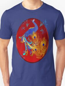 Three Feathers and a Peacock Oval T-Shirt