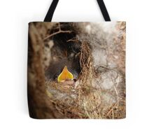 CAROLINA WREN NESTLING - OPEN WIDE Tote Bag
