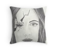 When the cracks appear in the mask of calm... Throw Pillow