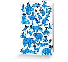 Blue Animals, Black Hats Greeting Card