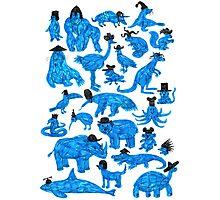 Blue Animals, Black Hats Photographic Print