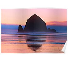 Summer Sunset at Haystack Rock Poster