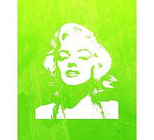 Marilyn Monroe Watercolour Portrait Green  Photographic Print