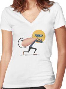 Cat Burglar Women's Fitted V-Neck T-Shirt