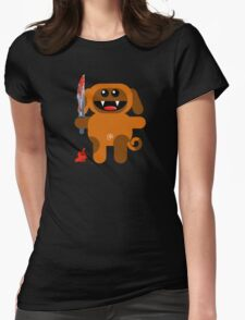 DOG 2 (Cute pet with a sharp knife!) Womens Fitted T-Shirt