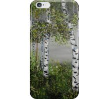 aspen trees, shades of grey, impressionism art, home decor iPhone Case/Skin