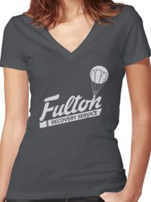 Fulton Recovery Service - White - Damaged Women's Fitted V-Neck T-Shirt