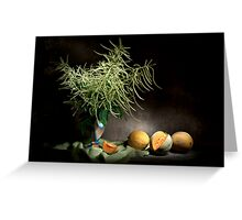 Mysterious Astilbe and Cantaloupe Still Life Greeting Card
