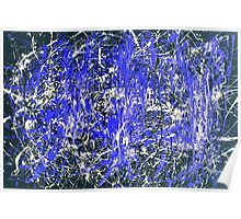 Abstract Jackson Pollock Painting Original Art Titled: Blue Dance Poster