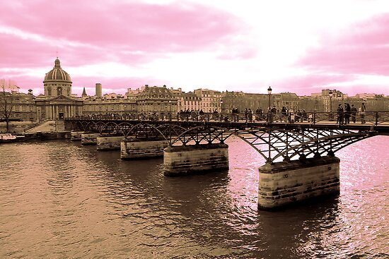 Parisian Mosaic - Piece 16 - Pink Sky Above The Ponts des Arts by Igor Shrayer