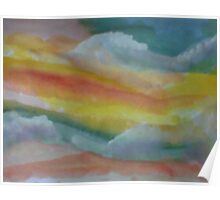 Clouds and sky, watercolor Poster