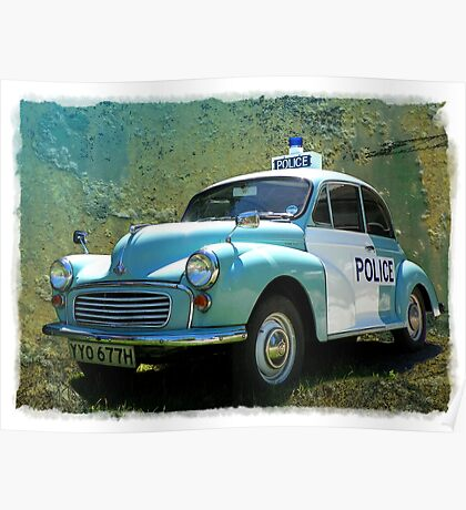Morris Minor Police Car in Art Poster