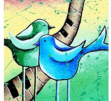 Bluebirds Tweety Lovebirds Whimsical Folk Wall Art  by hjmart