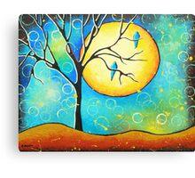 Blue Lovebirds Whimsical Art Canvas Print