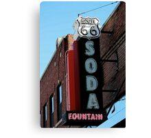 Route 66 Soda Fountain Neon Sign Canvas Print