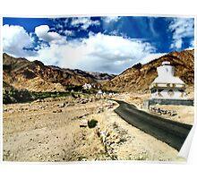 temple road. ladakh, india Poster