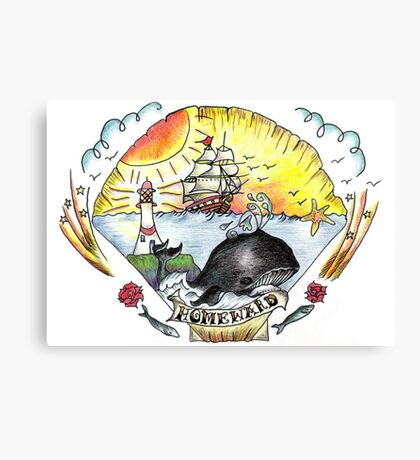 Whale and seascape in Tattoo Art style Canvas Print
