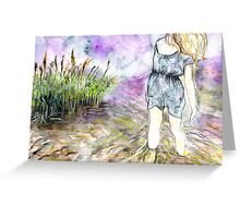 Watercolour landscape with woman Greeting Card