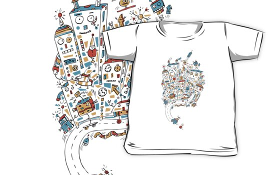 Robot City (Tee) by Carla Martell