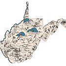 West Virginia Vintage Picture Map by surgedesigns