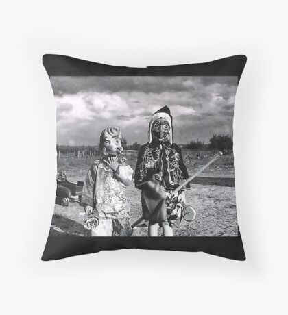 Vintage Halloween Early 1900's Masked Children Throw Pillow