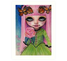 Pink haired Rose Art Print