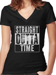 Straight Outta Time Back to the Future  Women's Fitted V-Neck T-Shirt
