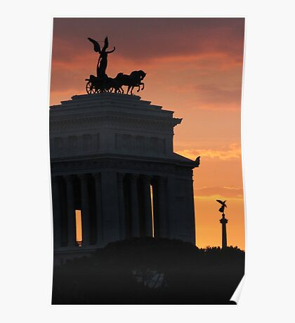 Sunset at Monumento Nazionale a Vittorio Emanuele II  Poster