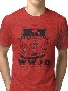 What Would Jesus Drive ? humble, economical & room for 12 Tri-blend T-Shirt