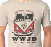 What Would Jesus Drive ? humble, economical & room for 12 Unisex T-Shirt
