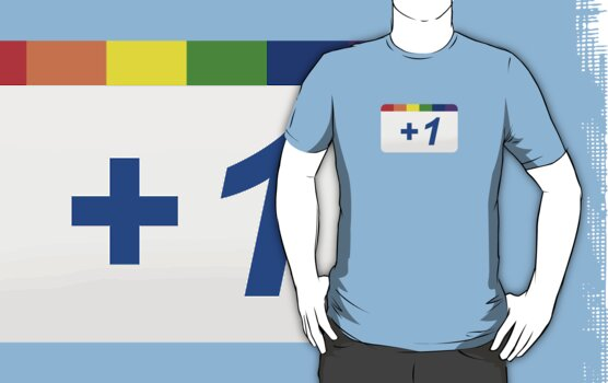 Google +1 Gay Pride Parody T-Shirt  by Brother Adam