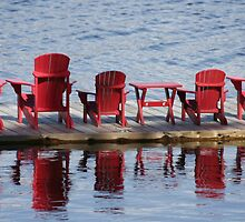 Red Muskoka Chairs - Lake Muskoka by Carolyn  Reinhart